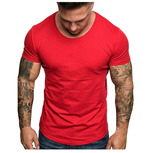 Solid Crew Mens Soft Fit Shirts Lightweight Color Slim T Cotton Sleeve Zackate Neck Blended Purple Casual Short Nmv80nw