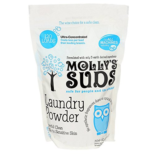 Molly's Suds All Natural Unscented Laundry Powder 120 Loads - Free of Harsh Chemicals, Gentle on Sensitive Skin and Eczema.