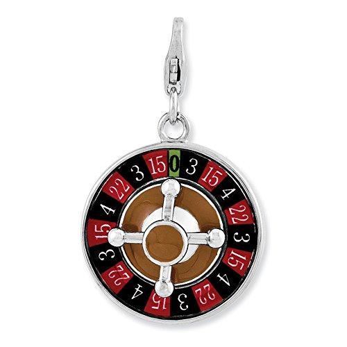(Lex & Lu Sterling Silver Enameled 3-D Roulette Wheel w/Lobster Clasp Charm)