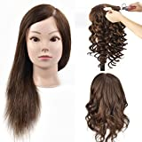 MMZ Mannequin Head,18 Inches Long with 100% Human Hair Hairdresser Training Head Manikin Cosmetology Doll Head With Free Table Clamp