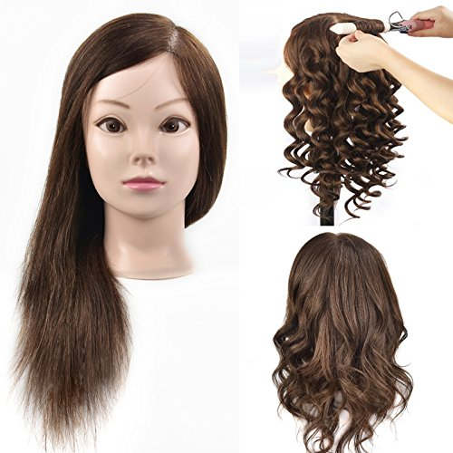 MMZ Mannequin Head, 18 Inches Long with 100% Human Hair Hairdresser Training Head Manikin Cosmetology Doll Head With Free Table Clamp
