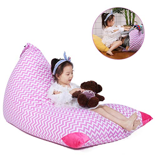 Stuffed Animal Bean Bag Storage for Kids and Adults. Premium Canvas Bean Bag Chair Cover - Cover ONLY(Chevron Print Pink 200L/52 Gal) ()