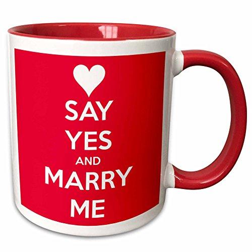 3dRose EvaDane - Funny Quotes - Keep calm and marry me. Red. - 11oz Two-Tone Red Mug (mug_193612_5) (Marry Me Coffee Cup compare prices)