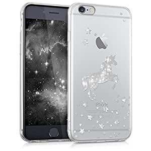 kwmobile Funda para Apple iPhone 6 / 6S - Carcasa Protectora de [TPU] con diseño de Unicornio Brillante en [Plata/Transparente]