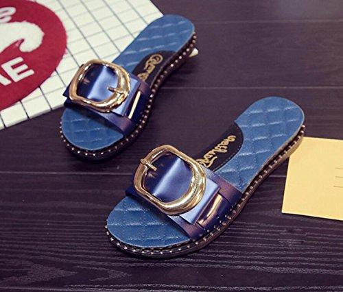 Dames Anti Sport Boucle de Chaussures Blue Plage Printemps Femmes Forme Dérapant DANDANJIE Pantoufles de Sandales Sandales Plat en Talon XPgnT6x