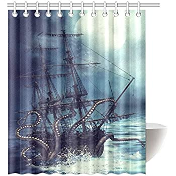 Amazon octopus shower curtain blue kraken nautical bathroom interestprint pirate ship octopus design polyester fabric bathroom shower curtain purple 60 x 72 inches with hooks gumiabroncs Images
