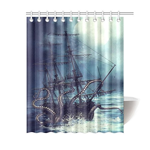 Pirate Curtain (InterestPrint Pirate Ship Octopus Design Polyester Fabric Bathroom Shower Curtain Purple 60 X 72 Inches With)
