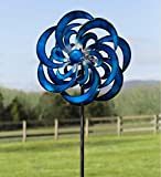 Blue Waves Outdoor Metal Garden Wind Spinner 23 dia. x 10.25 D x 84 H