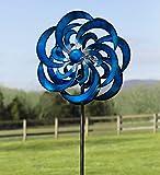 Blue Waves Outdoor Metal Garden Wind Spinner 23 dia. x 10.25 D x 84 H