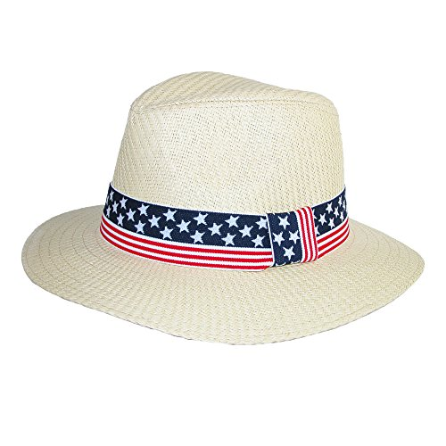 David & Young Paper Braid Panama Hat with American Flag Band, - Ray Band Usa
