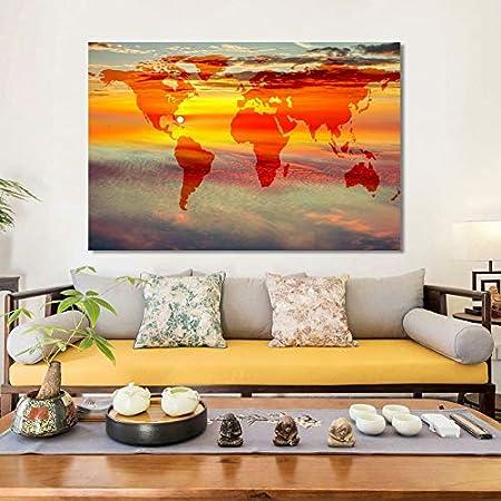 KWzEQ Mapa Moderno Cartel Arte de la Pared Pintura de Paisaje fantasía Tierra Cielo Decorar Sala de Estar,Pintura sin Marco,30x45cm