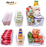 Adorn Home 6 Piece Refrigerator/Freezer Organizer Bins with Handles | Stackable Storage Containers | Pantry Storage Bins | Clear