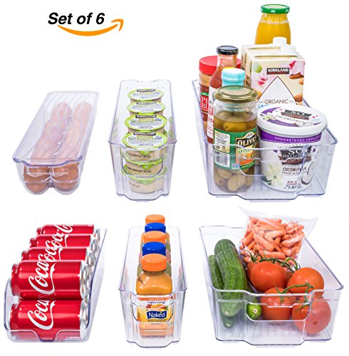Stackable Storage Containers (Adorn Home 6 Piece Refrigerator/Freezer Organizer Bins with Handles | Stackable Storage Containers | Pantry Storage Bins | Clear)