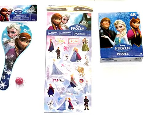 - DISNEY'S FROZEN PRINCESS ELSA, ANNA, PUZZLE, STICKERS, PADDLE BALL Lot 3