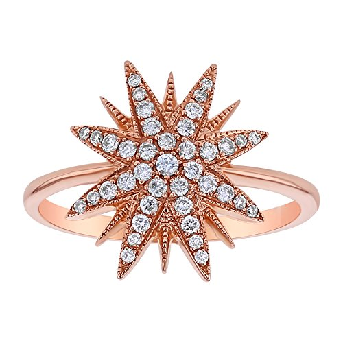 Olivia Paris 14k Rose Gold Star Spike Diamond Ring (1/4 cttw, H-I Color, I1 Clarity) Size 7