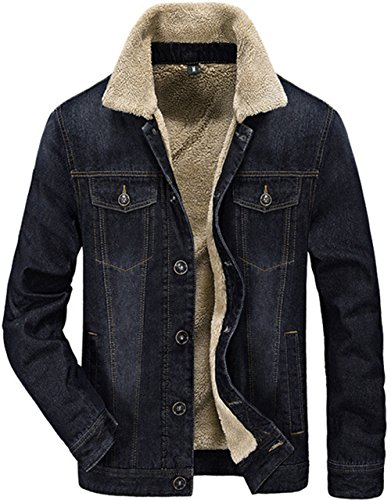 Winter Winter Jacket Plus Lining Denim Thick Denim Autumn Men's Wool FUNFOA Windproof Imitation Warm Jacket Black and wq4nPU5EC