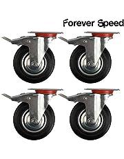 Forever Speed Lote de 4 Ruedas Pivotantes Ø 75mm Ruedas Giratorias de Transporte Negro para Carritos