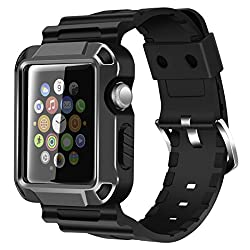 Apple Watch Case Series 1 Series 2, Iitee Universal Full Armor Case & Band Strap With Screen Protector For Apple Watches (Space Gray-42mm)