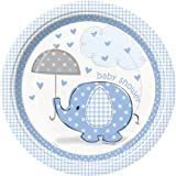 Blue Elephant Baby Shower Dinner Plates, 8ct
