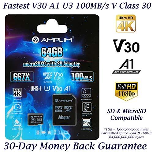 - 64GB Micro SD SDXC Memory Card Plus Adapter (Class 10 U3 UHS-I V30 A1 MicroSD XC Extreme Pro) Amplim 64 GB Ultra High Speed 667X 100MB/s UHS-1. Cell Phone, Tablet, Camera TF MicroSDXC Flash