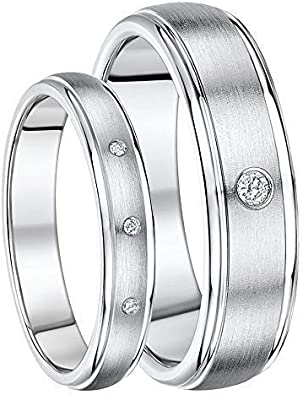 His /& Hers Titanium Matt /& Polished Wedding Rings 4/&6mm Bands
