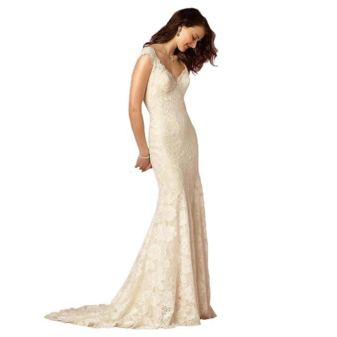 Engerla - Vestido de novia - ajustado - Floral - Manga Corta - Mujer Blanco blanco