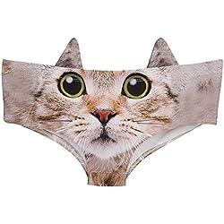 Ababalaya Womens' 3D Animal Print Cute Briefs with ears (Medium, Cute Kitty)