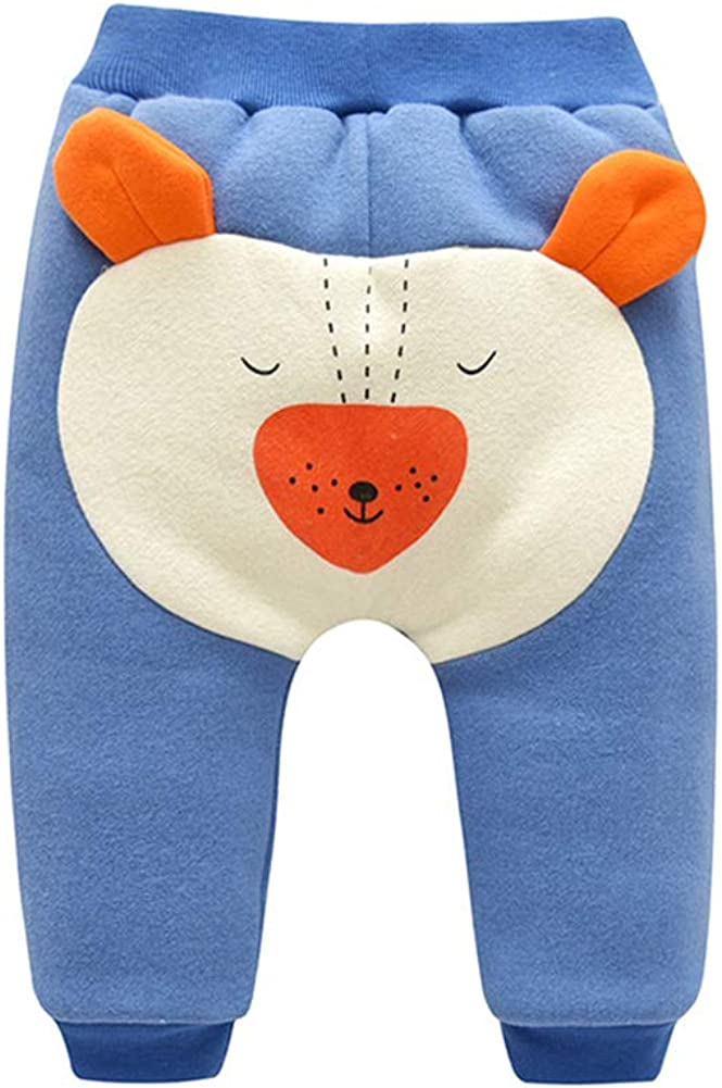 HUHUXXYY Infant Baby Boys Girls Cute Bear Pant Cartoon Winter Fleece PP Trouser