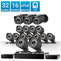 Zmodo 32 Channel 720P HD NVR Security System 16 x IP Outdoor/Indoor Surveillance Camera, w/sPoE Repeater for Flexible Installation & Extension, Customizable Motion Detection, w/2TB Hard Drive
