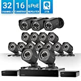 Zmodo 32 Channel 720P HD NVR Security System 16 x IP