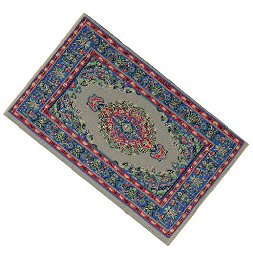 Flameer 1 12 Scale Handmade Miniature Rug Turkish Style Carpet Floor Covering, Dollhouse Accessory and Furniture, Vintage Style