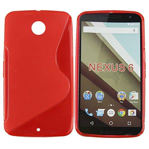 Binmer(TM)Google Nexus 6 New S Wave Soft TPU Gel Case Cover Skin Cell Phone Case Fashion (Red)