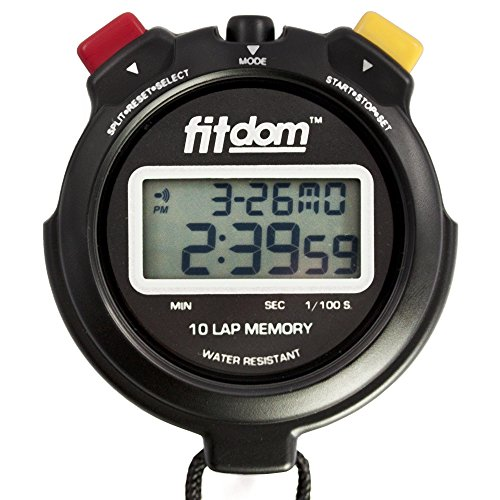 Premium Quarter Round - Best Coach Stopwatch, a Digital Sports Timer + Lanyard that Tracks Performance w/10 Laps Memory & 1/100 Sec with Precision. Large Display & Font Ideal for Trainers, Competition & More