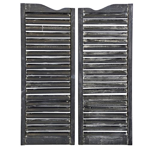 Collective Design Old World Wooden Weathered Window Shutters-Antique Grey-Set of 2 Wall Art, ()