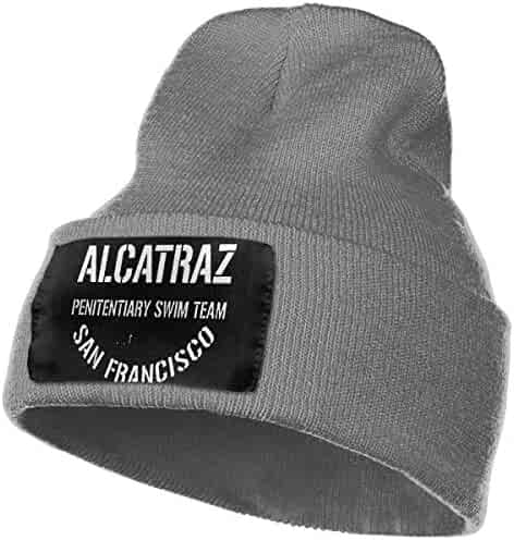 ce01e24d5d1 SLADDD1 Alcatraz Penitentiary Swim Team Warm Winter Hat Knit Beanie Skull  Cap Cuff Beanie Hat Winter