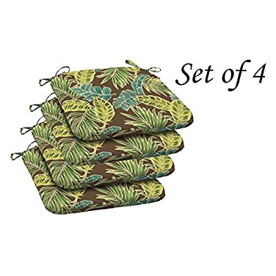 Comfort Classics Inc. Outdoor Brown seat pad with Multi Color Leaf Pattern (Set of 4) 20x20x2 in Polyester : Garden & Outdoor
