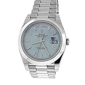 Best Epic Trends 51dSueACOAL._SS300_ Rolex Daydate 40MM Platinum President 228206 Ice Blue Motif Dial & Smooth Bezel (Certified Pre-Owned)