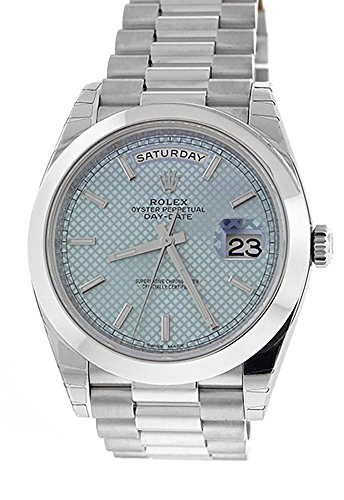 Rolex DAY-DATE 40 Platinum Ice blue diagonal motif Dial Men's Watch 228206