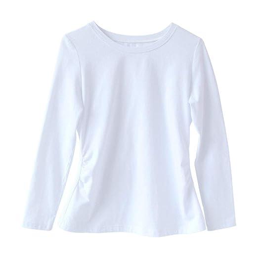 FWJ-clothes Ropa de Maternidad para Mujer Tops Camisa Túnica de Embarazo Lado Fruncido Tallas Grandes Cuello Redondo Camiseta de Embarazo de Manga Larga,Blanco,M: Amazon.es: Jardín