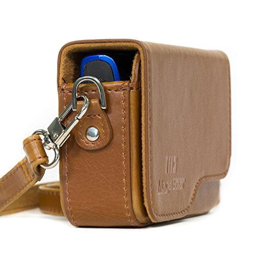 MegaGear Canon PowerShot SX620 HS, ELPH 180, ELPH 360 HS, ELPH 190 is, ELPH 170 is, SX610 HS Leather Camera Case with Strap - Light Brown - MG1091