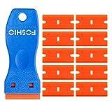 "FOSHIO 1.5"" Mini Razor Plastic Double Edged Blade Scraper with 10pcs Safety Plastic Razor Scraper Blades for Removing Labels, Stickers and Decals"