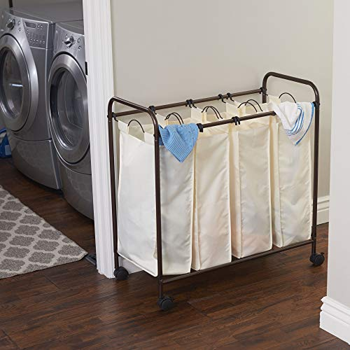 Household Essentials 7173 Rolling Quad Laundry Sorter with Removable Hamper Bags | Antique Bronze Frame (Bin Laundry Sorter)