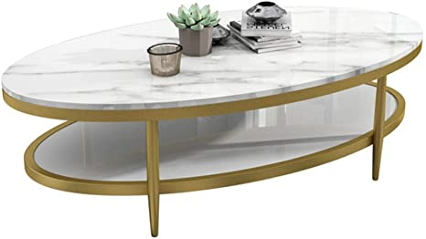 Yxf Coffee Tables Mid Century Elegant Oval Coffee Table 2 Tier Marble Sofa Side Table Accent Table Metal Frame For Villa Apartment Living Room 100 X 50 X 45 Cm Amazon De Kuche Haushalt