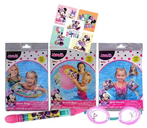 UPD Licensed Swim Sets! Pool Toys Bundle! Swim Ring, Arm Floats, Beach Ball and Water Blaster in All Your Favorite Characters! (5 Piece, Minnie Mouse)
