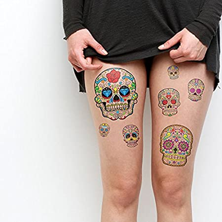 Amazon.com: Tattify Dia de los muertos Tatuajes Temporales ...