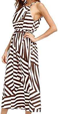 Axchongery-Dress Vestido Maxi para mujer, falda de rayas bohemio ...