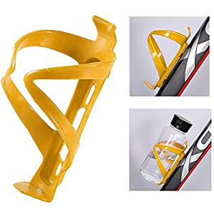 Bike Water Bottle Cages Holder Plastic Rack Bracket for Bicycle Cycling Sport (Yellow)