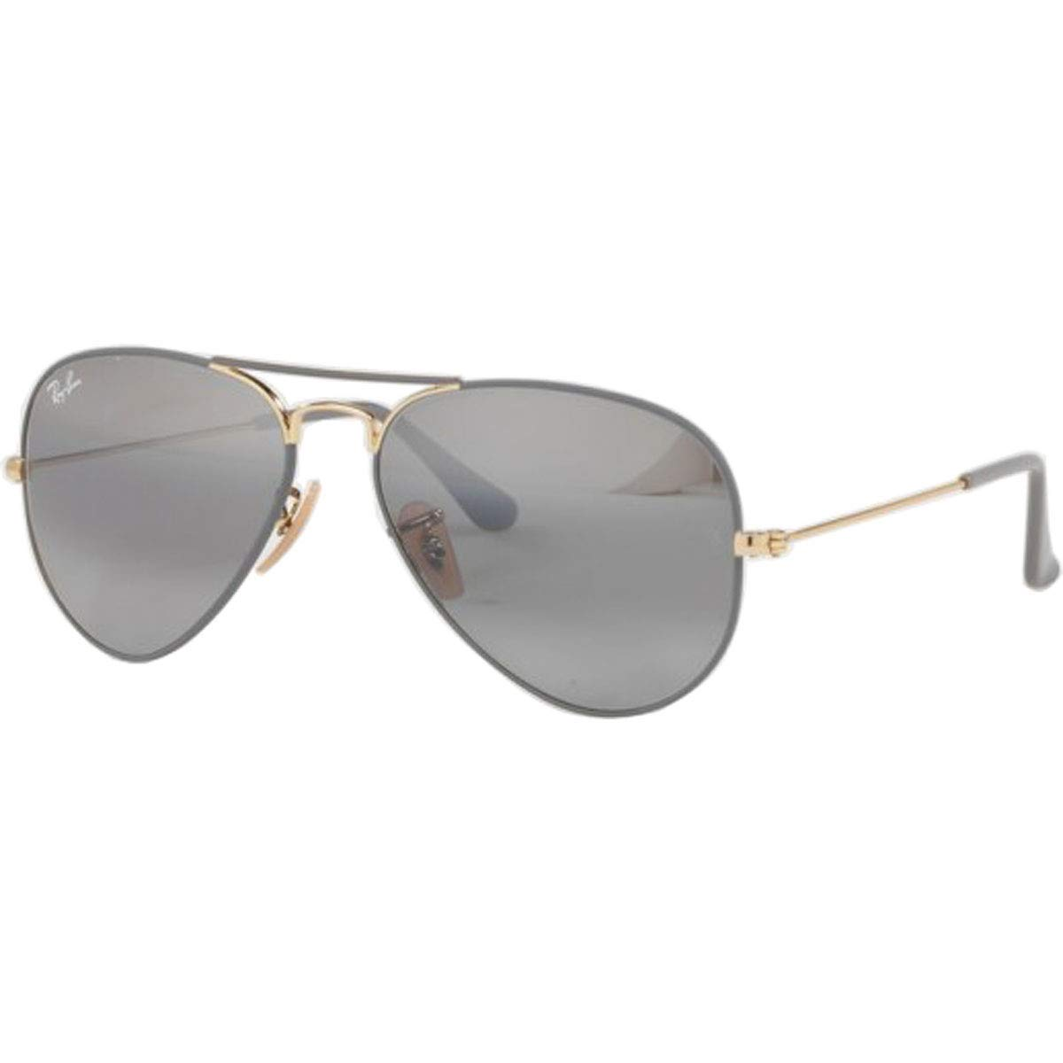 RAY-BAN RB3025 Aviator Large Metal Sunglasses, Matte Grey On Gold/Grey Gradient Mirror, 58 mm by RAY-BAN