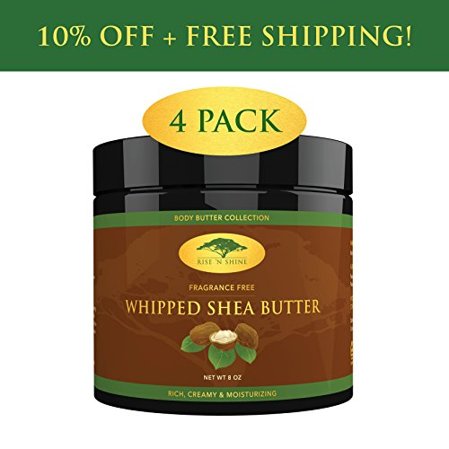 (4 Pack) Whipped African Shea Butter Cream - Pure 100% All Natural Organic Moisture for Soft Skin and Natural Hair - Body Butter Improves Blemishes Stretch Marks Scars Wrinkles Eczema & Dermatitis