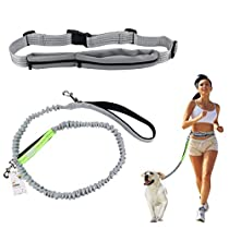 Hands Free Dog Leash Cadrim Retractable Dog Leash Strong Bungees, Adjustable Waist Belt Double Padded Reflective Waist for Walking Jogging Hiking Shock Absorbing, Gray